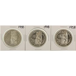 Lot of (3) 1958 $1 Canada Silver Dollar Coins