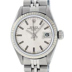 Rolex Ladies Stainless Steel Silver Index 26MM Datejust Wristwatch