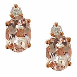 1.39 ctw Morganite and Diamond Earrings - 10KT Rose Gold