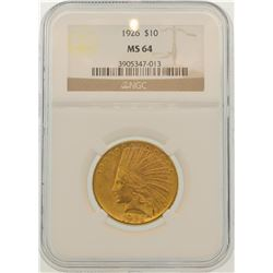 1926 $10 Indian Head Eagle Gold Coin NGC MS64