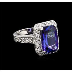 4.95 ctw Tanzanite and Diamond Ring - 14KT White Gold