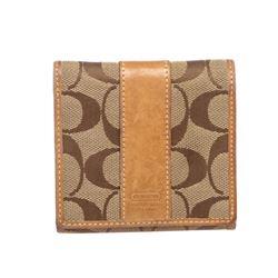 Coach Brown Beige Monogram Canvas Tan Leather Trim Small Wallet