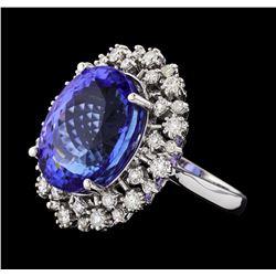 GIA Cert 16.52 ctw Tanzanite and Diamond Ring - 14KT White Gold