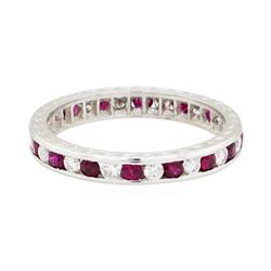 0.50 ctw Diamond and Ruby Eternity Ring - 14KT White Gold