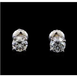 1.15 ctw Diamond Stud Earrings - 14KT White Gold