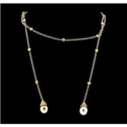 Pearl and Diamond Necklace - 18KT Yellow and White Gold