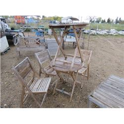 3 FOLDING CHAIRS, 2 FOLDING TABLES, WOODEN
