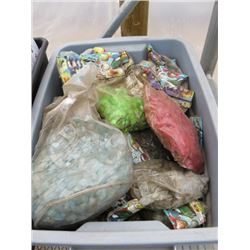 BLUE TUB OF ASSORTED MARBLES, GLASS