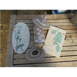 2 CERAMIC WALL PLATES 1-CERAMIC BIRD FEEDER