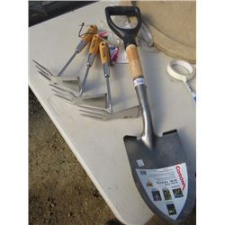 3 STAINLESS STEEL HOE/CULTIVATOR, 1 MINI ROUND POINT SHOVEL
