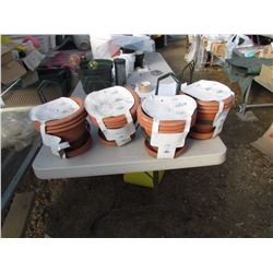 "12 METAL POT HANGERS 6 1/2"" AND POTS, RETAIL $24.99 EACH (12 TIMES BID PRICE)"