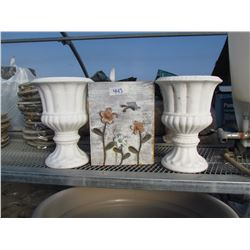 "2 PEDISTAL PLANTERS 10"", 1 METAL BAG PLANTER"