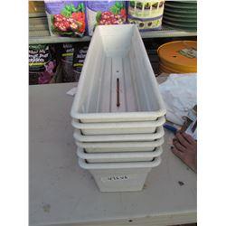 "6 DURA-COTTA BOX 30""X7.5"" WITH TRAYS, WHITE  (6 TIMES BID PRICE)"