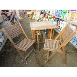 WOODEN PATIO TABLE W/ 2 CHAIRS