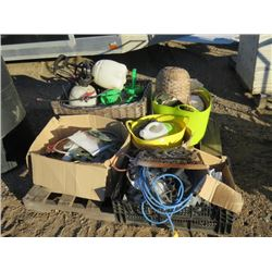 PALLET OF EXTENSION CORD, BASKETS, SPRAY CANNISTERS