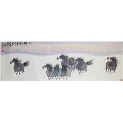 ZHANG SHIFENG Chinese Modern Watercolor 8 Horses