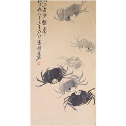QI BAISHI Chinese 1864-1957 Ink Crab Paper Scroll