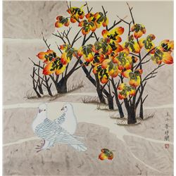 YU FEIAN Chinese 1888-1959 Watercolor Pigeons