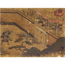17-18th Century Japanese Gilt Watercolour Framed