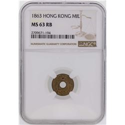 1863 Hong Kong One Mil Coin NGC MS63RB
