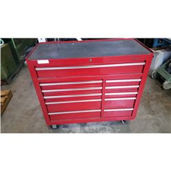 RED ROLLING TOOL CHEST AND CONTENTS WITH KEY