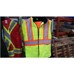 CONDOR HIGH VISIBILITY INSULATED VEST WITH SIZE MEDIUM HIGH VISIBILITY PANTS