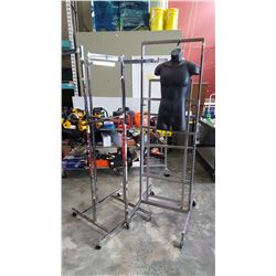 2 METAL ROLLING RACKS AND HANGING TORSO