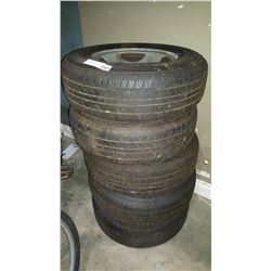 FOUR HANKOOK 14 INCH TIRES ON RIMS AND SPARE TIRE