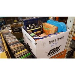 BOX OF TOYS AND BOARD GAMES AND CDS