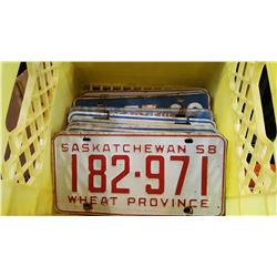 YELLOW CRATE OF VINTAGE MATCHING LICENSE PLATE PAIRS