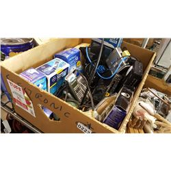 BOX OF ELECTRONICS AND SHREDDER AND CAMERA