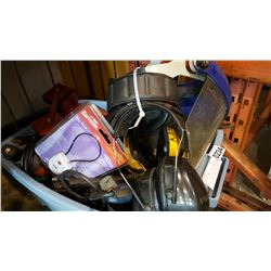TOTE OF POWER TOOLS AND VISORS