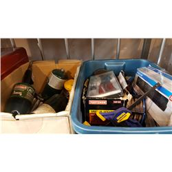 BOX AND TOTE SOF SHOP SUPPLIES, PROPANE BOTTLE, AND HEATERS
