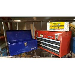 BLUE KOBALT TOOLBOX FILLED W/ SOCKETS AND RED TOOLBOX AND BOX OF STRIP NAILS