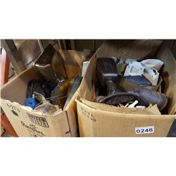 2 BOXES W/ AUTOMOTIVE LIGHTS, SECURITY MOTION LIGHTS, AND ELECTRICAL