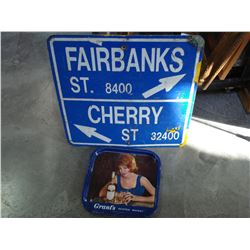 METAL SIGN AND GRANT WHISKEY TRAY
