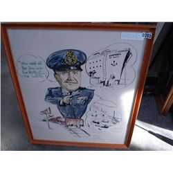 """WATER COLOR AND INK ON PAPER """"CARICUTURE OF A WINNIPED POLICE OFFICER ON A TRAIN 1960"""""""