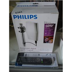 PHILIPS HDTV INDOOR OUTDOOR 18DB AMPLIFIED DIGITAL TV ANTENNA WITH 8 IN 1 REMOTE