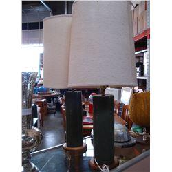2 MID CENTURY TEAK BASE TABLE LAMPS