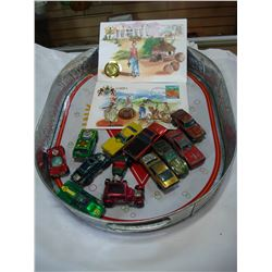 12 REDLINE HOTWHEELS MADE IN HONG KONG DIECAST AND COCA COLA TRAY