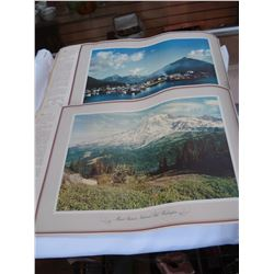 TRAY OF OLD POSTCARDS, STAMPS AND COMPLETE SET OF WESTER SCENIC VIEWS PICTURES