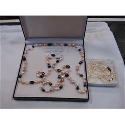 EXTRA LONG BAROQUE PEARL NECKLACE AND SEED PEARL NECKLACE AND BRACELET