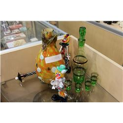 LOT OF ART GLASS CLOWNS AS IS AND GREEN GLASS DECANTER SET