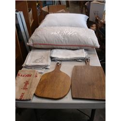 DESIGNER THROW PILLOWS LINENS AND TWO CHEESE BOARDS