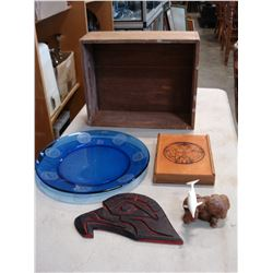 FIRST NATIONS ETCHED PLATE AND ITEMS