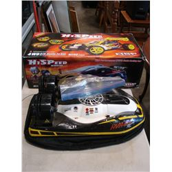 HISPEED OFF ROAD RC NITRO BUGGY IN BOX AND RC HUR-062 HOVERCRAFT WITH CHARGER AND REMOTE AND BATTERY