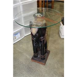 GLASSTOP ELEPHANT END TABLE