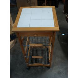 PINE TILE TOP ROLLING STAND