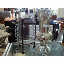 ACID ETCHED VASE AND LARGE ETCHED GLASS CANDLE LANTERN
