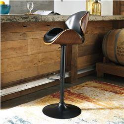 TWO ASHLEY FLOOR MODEL BENTWOOD AND BROWN LEATHER BARSTOOLS, MINOR COSMETIC DAMAGE RETAIL $239 EACH